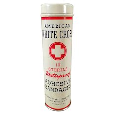 Vintage American White Cross Adhesive Bandage Tin, Full - Old Medical Advertising