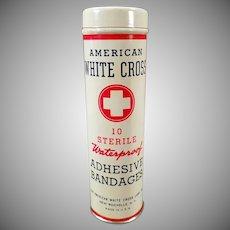Vintage American White Cross Adhesive Bandage Tin, Full - Old Medical Advertising