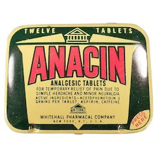 Vintage Anacin Analgesic Twelve Tablet Medicine Tin - Old Medical Advertising