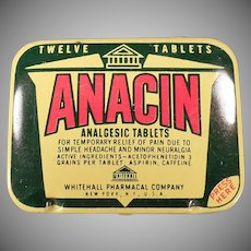 Vintage Anacin Analgesic Twelve Tablet Medicine Tin - Old Medical Advertising