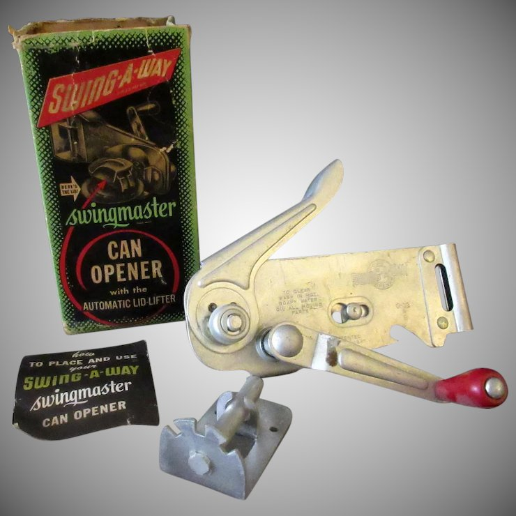 vintage wall mounted swing a way swingmaster can opener 1940 s