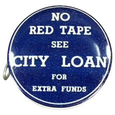 Vintage Celluloid Advertising Tape Measure - City Loan of Ohio - No Red Tape