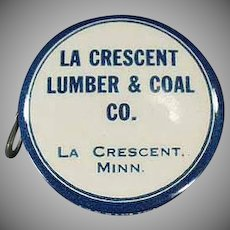 Vintage Celluloid Advertising Tape Measure - La Crescent Lumber and Coal