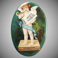 Vintage Advertising Celluloid Pocket Mirror - Angelus Marshmallows with Colorful Cherub
