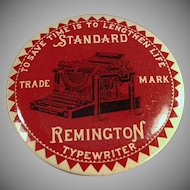 Vintage Celluloid Advertising Paperweight Mirror with Remington Typewriter