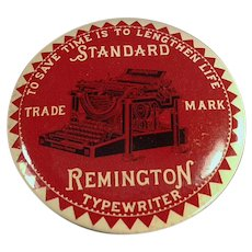 Vintage Celluloid Advertising Paperweight Mirror with Remington Typewriter