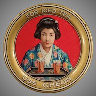 Vintage Advertising Tip Tray with Beautiful Oriental Girl - Cheon Tea