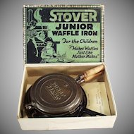 Child's Vintage Cast Iron Stover Junior Waffle Iron with Original Box