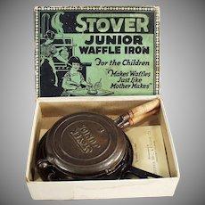 Child's Vintage Cast Iron Stover Junior Waffle Iron with Original Box
