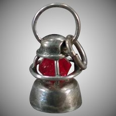 Tiny Vintage Railroad Lantern Sterling Silver Charm with Red Bead Globe