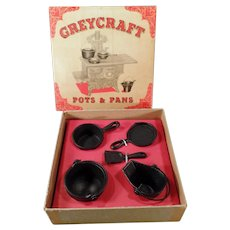Vintage GreyCraft Miniature Kitchenware Pots and Pans Set with Original Box - Doll Set