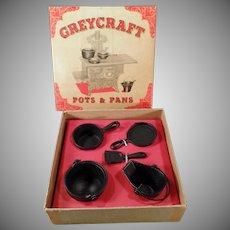 Vintage GreyCraft Miniature Kitchenware Pots and Pans Set with Original Box - Doll Set