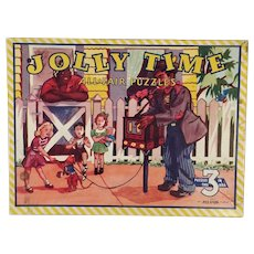 Three Vintage Picture Puzzles – Jolly Time All Fair 3 Puzzle Set with Box