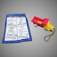 Vintage Puzzle Key Chain - Colorful Dump Truck with Original Instructions