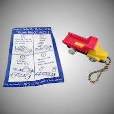 Vintage Puzzle Key Chain - Colorful Dump Truck with Original Instructions