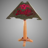 Vintage Atlantic & Pacific Shoes - Advertising Table Lamp with Delicate Old Paper Shade