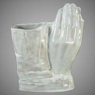 Vintage Frankoma Pottery Vase - Praying Hands in White Sand Glaze