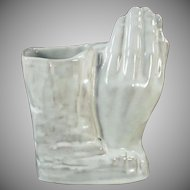 Vintage Frankoma Pottery Vase - Praying Hands in White Sand Glaze