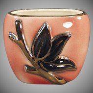 Vintage Royal Copley/Shafer Pottery Vase Planter - Pink with Gold Enhanced Leaf Design