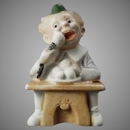 Vintage German Bisque Match Holder Figurine with Comical Character