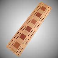 Vintage Cribbage Board with Multi-Colored Woods
