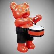 Vintage Japanese Celluloid Wind-up Drumming Bear Toy