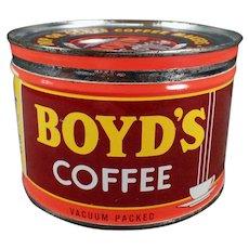 Vintage 1# Boyd's Coffee Tin - Key Wind - Portland Oregon Advertising Tin