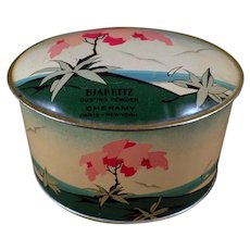 Vintage Cheramy Biarritz Dusting Powder Talc Tin - Very Pretty Powder Tin