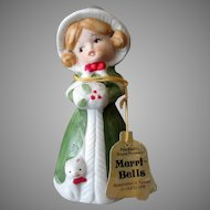 Vintage Merri-Bells Girl in Green Christmas Bell with Original Tag – 1978 Jasco