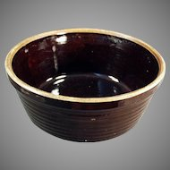 Vintage U.S.A. Stoneware Pottery Bowl - Dark Brown Glaze