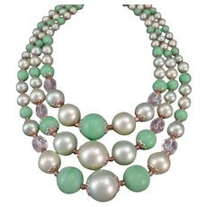 Vintage Costume Jewelry 3 Strand Bead Necklace in Pastel Greens - Japan