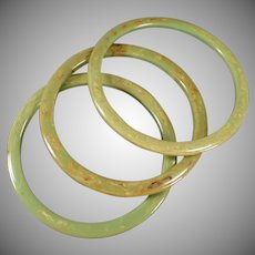 Vintage Bangle Bracelets - Mottled Green Bakelite Rings - Three Piece Set