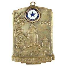 Vintage American Legion Auxiliary Watch Fob - 1938 Los Angeles California