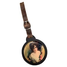 Vintage Celluloid Watch Fob with Pretty Woman, Mirror & Leather Strap