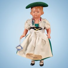 Vintage Rheinische Gummi Celluloid Doll with Original Tyrolean Outfit - Turtle Mark