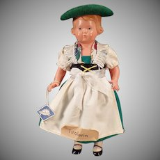 Vintage Rheinische Gummi Celluloid Doll with Original Tyrolean Outfit - Turtle Mark