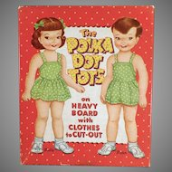 Vintage 1959 Polka Dot Tots Polly and Peter Paper Dolls with Clothes and Box