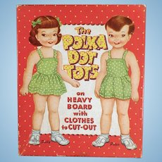 Vintage 1959 Polka Dot Tots Polly and Peter Paper Dolls - Original Clothes and Box