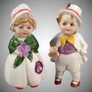Vintage Bisque Nodder Dolls - Hand Painted Boy & Girl German Nodders