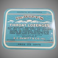 Vintage Medicine Advertising Tin - 25c 60 Count De Witt's Throat Lozenges Tin