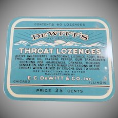 Vintage Medicine Advertising Tin - 25c 60 Count De Witt's Throat Lozenges Tin