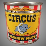 Vintage Circus Cashews Nut Tin - Small Tin with Elephant Logo