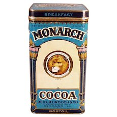 Vintage Monarch Tin - Large Breakfast Cocoa Tin with Nice Graphics