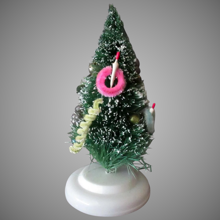 Vintage 6 Bottle Brush Christmas Tree With Ornaments Flocked Tips