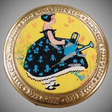 Small Vintage Compact with Little Girl on the Colorful Lid