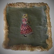 Vintage Needlepoint – Pretty Needle Work Pillow Cover with Fringe