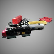Vintage Bandai Battery Operated Japanese Tin Train Set with Track