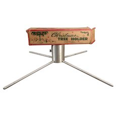 Small Aluminum Vintage Christmas Tree Stand Possibly for a Feather Tree - 1950's