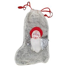 Vintage Net Stocking Christmas Candy Container/Ornament with Santa Claus Face