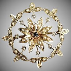 Vintage 14k Gold Star Burst Brooch Pendant with Tiny Sapphire and Seed Pearls